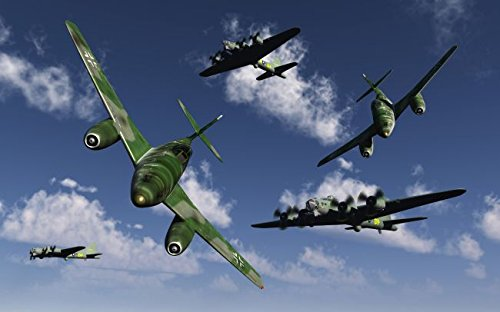 A pair of German Me 262 jetfighters attacking B-17 Flying Fortress bombers. 24 x 30 Poster