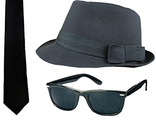 Blues Brother 3 Piece Set. Includes a Fedora hat, 80s wayfarer style dark shades and black tie.