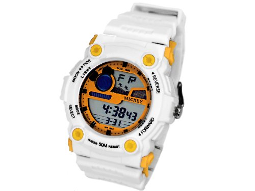 Disney Disney Mickey sports digital type watches yellow characters Edition white belt 50 waterproof with rubber belt yellow-[parallel import goods]