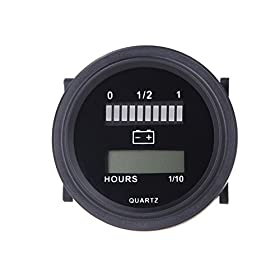 docooler 12V/24V/36V/48V/72V LED Digital Battery Status Charge Indicator with Hour Meter Gauge