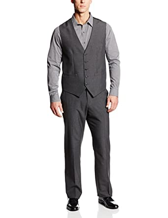 Perry Ellis Men's Big-Tall Pinstripe 5 Button Suit Vest, Charcoal, 2X