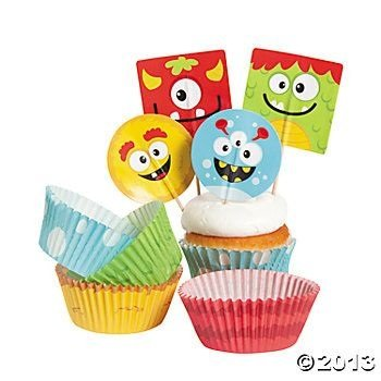 Bakery Supplies - Silly Monster Cupcake Picks and Baking Cups - 100 pc/Unit - 1