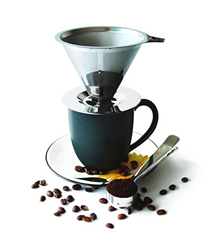 One Cup Coffee Maker With Permanent Filter : Coffee Dripper Stainless Steel - Reusable Permanent Pour Over Filter Cone and Brewer - Drip ...