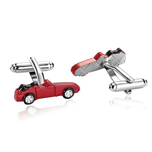 epinki-stainless-steel-car-one-side-shape-red-mens-cufflinks-and-studs-set