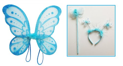 LolaSaturdays 3 Pc Set Blue Fairy Princess Butterfly Angel Costume Dress-up Wings