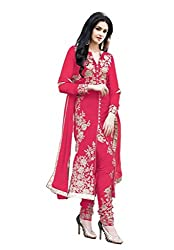 Regalia Ethnic New Collection Red Embroidered Georgette Semistitched Dress Material With Matching Dupatta