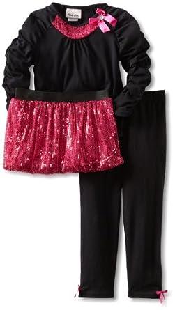 Little Lass Little Girls' 3 Piece Tutu Set With Bow Detail, Black/Pink, 5