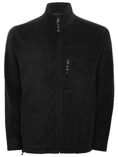 Mens Basic Plain Lightweight Long Sleeve Fleece Jacket Black M