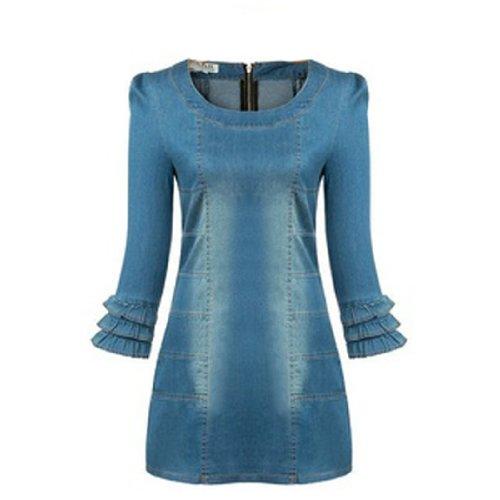 Wantdo Women'S Casual Preppy Style Slim Denim Dress(As Picture,X-Small)