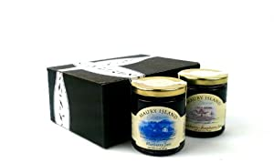 Maury Island Limited Harvest Jams 2-Flavor Variety: One 11 oz Jar Each of Blueberry Jam and Blackberry-Raspberry Jam in a Gift Box