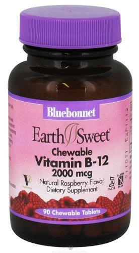 Bluebonnet Nutrition - Earth Sweet Chewable Vitamin B-12 Natural Raspberry Flavor 2000 Mcg. - 90 Chewable Tablets
