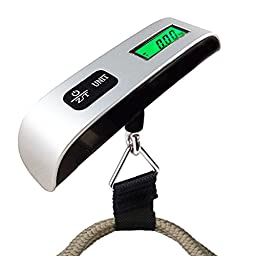 Digital Portable Luggage Hanging Scale with Temperature Sensor and Green Back Light LCD Display