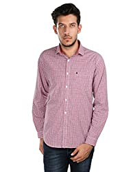Oxemberg Men's Checkered 100% Cotton Red Shirt