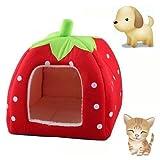 Kingmys Cute Soft Sponge Strawberry Pet Cat Dog House Bed Warm Cushion Basket Size:L