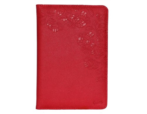 P&Q Estore Top Quality Soft PU Leather Elegant Case Cover for Ipad Mini Ipad Mini 2 with Sleeping/Standing Function/Card Slot + 1 x Premium Stylus Pen + 1 x P&Q Miscrofiber Cleaning Cloth In Retail Packaging (Red)