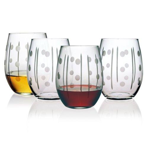 Susquehanna Glass Domino Stemless Wine Glasses, Set of 4