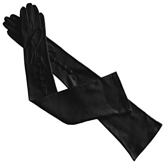 "Opera Length 16"" Opera Italian Leather Gloves with 4 Buttons At the Wrist. By Solo Classe (8, Black)"