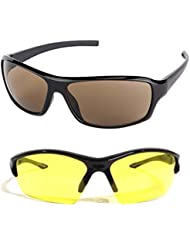 New Stylish UV Protected Combo Pack Of Sunglasses For Women / Girl ( BrownWrap-YellowNightVision ) ( CM-SUN-062 )
