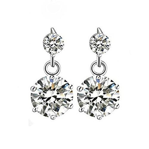 Nice Buckeye Rhodium Plated Fashion Style Double Diamonds Studded Stud Earrings