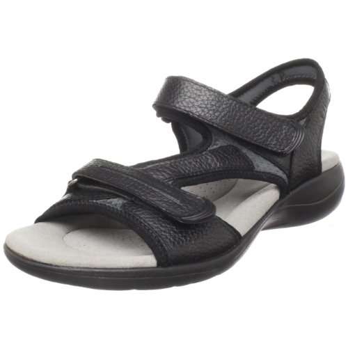 Clarks Women's Rise Casual Sandal,Black leather,7.5 W US