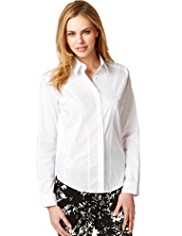 M&S Collection No Peep™ Classic Collar Concealed Fastening Corset Shirt