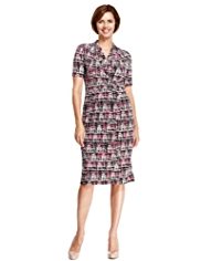 Classic Abstract Print Wrap Dress