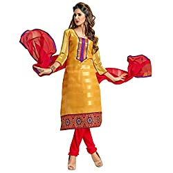 Aagaman Fashions Jacquard Semistitched Salwar Suit (TSVDSNSK7011_Yellow)