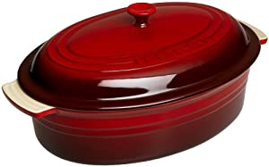 Le Creuset Stoneware 5-3/4-Quart Covered Oval Casserole (Cherry Red)