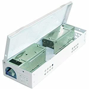 JT Eaton 427WH Speedy Clean Little Pete Extra Narrow Multi Catch Mouse Trap with Solid Steel Lid and Quick Ramp Compatible, White