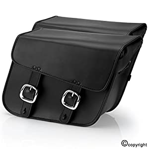 Nomad USA Leather Slanted Medium Motorcycle Saddlebags w/ Quick Release Buckles