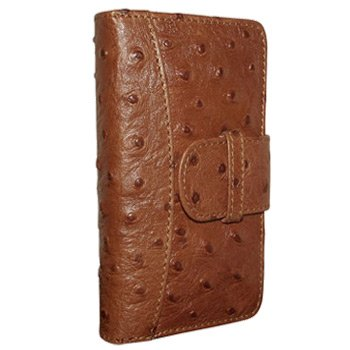 Best Price Apple iPhone 5 / 5S Piel Frama Tan Ostrich Leather Wallet