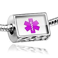 "Neonblond Beads Medical Alert Purple ""Hospital Logo"" - Fits Pandora Charm Bracelet by NEONBLOND Jewelry & Accessories"