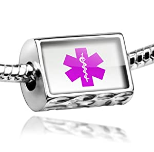 "Neonblond Beads Medical Alert Purple ""Hospital Logo"" - Fits Pandora Charm Bracelet by NEONBLOND Jewelry & Accessories"
