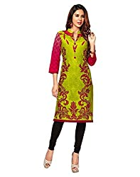 Jevi Prints Green Unstitched Cotton Kurti Material