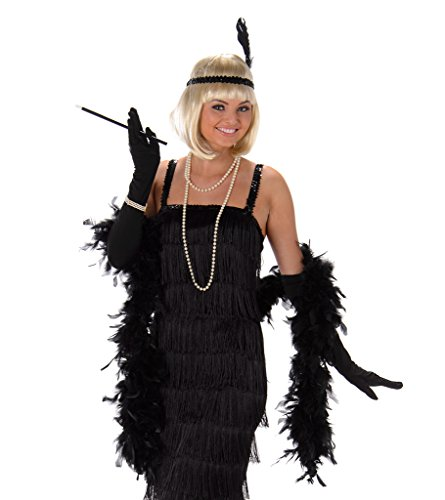 Women's Black Flapper Dress Costume Halloween (L) (Black Dress Halloween Costumes)