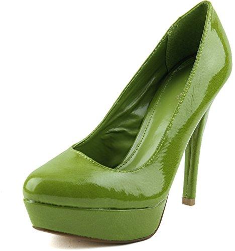 Women'S Qupid Mineral-01 Lime Crinkled Patent Platform Pumps Shoes, Lime, 6.5