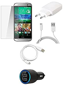 NIROSHA Tempered Glass Screen Guard Cover Case Charger USB Cable for HTC Desire M8 - Combo