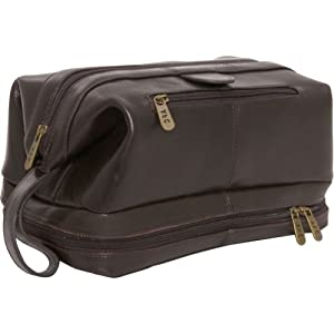 AmeriLeather Leather Toiletry Bag (Dark Brown)