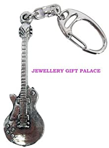 Quality Handcrafted Pewter Music Musician Gibson Guitar Keyring / Bag Charm - Ideal Gift for any Guitar Player / Musician / Man or Women