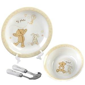 Button Corner Ceramic Baby Set - Bowl/Plate/Fork/Spoon en BebeHogar.com