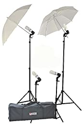ePhoto 2 Main Lights 2 Background Lights Photography Studio Lighting Digital Video Continuous Umbrellas Light Kit Uls314