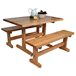 John boos trestle table 48 w x 36 d x 30 h for Dining room tables on amazon