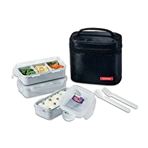 lock lock rectangular lunch box bento set w chopstics hpl754db combo black. Black Bedroom Furniture Sets. Home Design Ideas