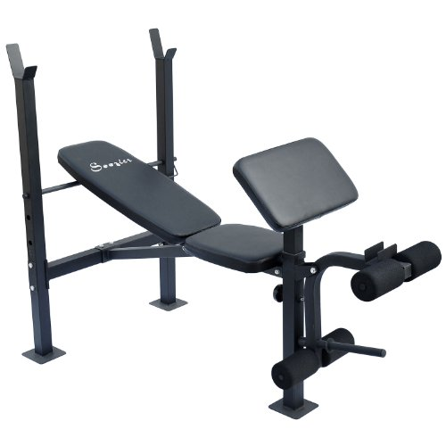 Soozier-Incline-Flat-Exercise-Free-Weight-Bench-w-Curl-Bar-Leg-Extension
