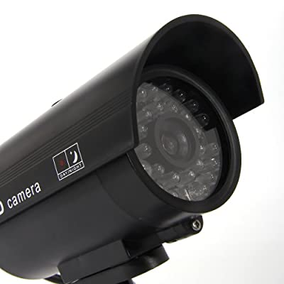Masione Simulated Surveillance Cameras - New Security Surveillance fake Dummy IR LED cameras - Night/Day Vision Look Bullet CCD CCTV Imitation Dummy Camera - Weatherproof bullet housing, multiple Flashing Blinking Red infrared LEDs, Indoors or Outdoors,Ho