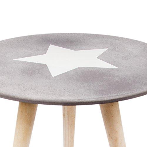 Beistelltisch Sander mit Stern Beton Zement - Look Couchtisch Tisch drei Beine Design Holz Ø40cm