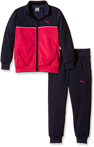 Puma tuta da ginnastica per bambini Fun Poly Suit Closed G, Bambini, Trainingsanzug Fun Poly Suit Closed G, Peacoat/Rose Red/White, 176