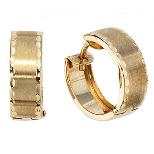 Creolen 333/-G goldene Creolen Kreolen gold 333 teilmattiert Klappcreolen