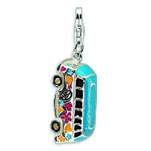 Sterling Silver 3-D Enameled Hippie Bus with Lobster Clasp Charm