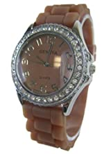 Ladies Dress Watch with Brown Silicone Band - Womens Fashion Watch with Rhinestone Bezel